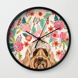 Labradoodle portrait floral dog portrait cute art gifts for dog breed lovers Wall Clock