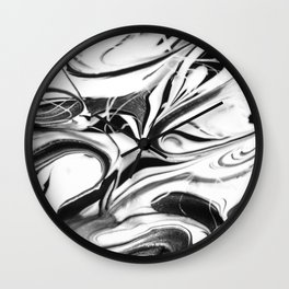 Black and white swirl - Abstract, black and white swirly, paint mix texture Wall Clock
