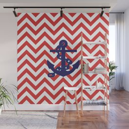 Blue Anchor on Red and White Chevron Pattern Wall Mural