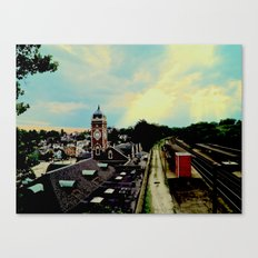 Waiting for a Train In Greensburg Canvas Print