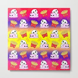 Cute sweet adorable Kawaii playful baby cats, yummy happy funny French fries cartoon colorful yellow purple pattern design. Kittens and comfort food. Munchies o'clock. Metal Print