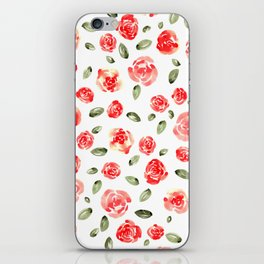 Red Roses Watercolor // Hand Painted Watercolor Floral // Rose Red and Leaf Green iPhone Skin