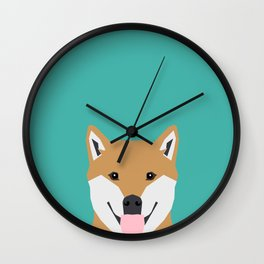 Shiba Inu dog head cute gifts for shiba inus lovers dog breed art Wall Clock