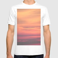 PINK DESERT SUNSET Mens Fitted Tee MEDIUM White