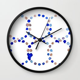 Blue and Rose Gold Abstract Watercolor Pattern Wall Clock
