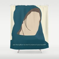 les miserables Shower Curtains featuring Workhouse Fantine - Anne Hathaway - 'Give That Letter to Me' - Les Miserables by Hrern1313