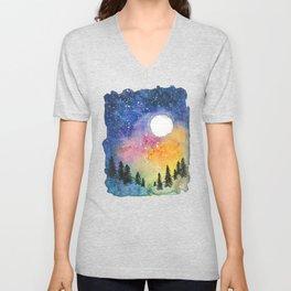 Boral Aurora Night Sky / Aurora Boreal Cielo Nocturno Unisex V-Neck