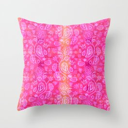 Floral pattern inspired by Hindu and Moroccan textiles Throw Pillow