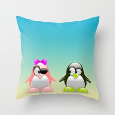 two little penguins Throw Pillow