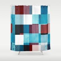 patriotic Shower Curtains featuring Patriotic Grid by plaidGecko