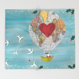 Christmas Santa Claus in a Hot Air Balloon for Peace Throw Blanket