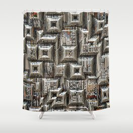 Abstract Geometric City Collage Shower Curtain