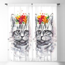 Cat with Flowers Blackout Curtain