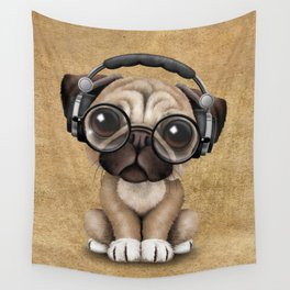 Cute Pug Puppy Dj Wearing Headphones and Glasses Wall Tapestry