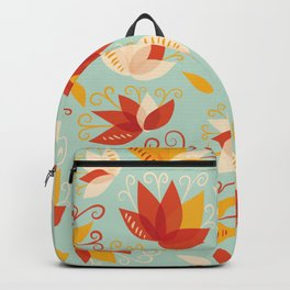 Whimsical Abstract Colorful Lily Flower Pattern Backpack