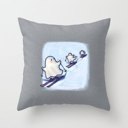 SKIING SCHOOL GHOSTIES Throw Pillow