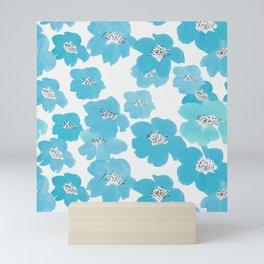 Camellia Flowers in Blue Pattern Mini Art Print