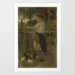 Feeding Chickens, Jacob Maris, 1866 Art Print