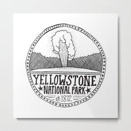 Yellowstone - Old Faithful Illustration Metal Print
