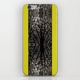 Gothic tree striped pattern mustard yellow iPhone Skin