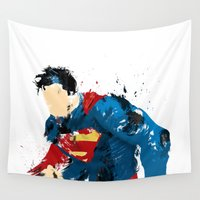 man of steel Wall Tapestries featuring Man of Steel by ALmighty1080