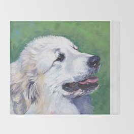 Great Pyrenees dog portrait art from an original painting by L.A.Shepard Throw Blanket