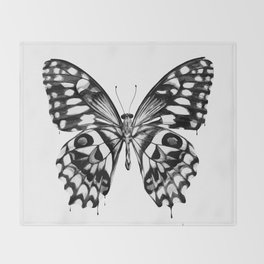 black butterfly Throw Blanket