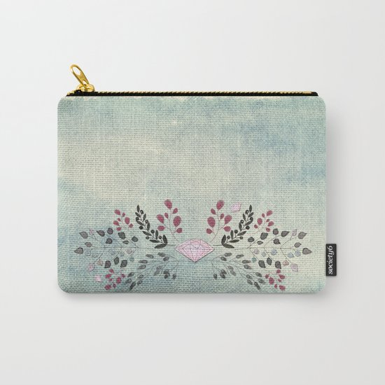 Diamond and flowers - Floral Flowers watercolor illustration Carry-All Pouch