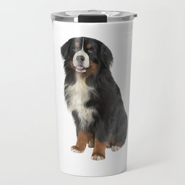 Bernese Mountain Dog. Drawing funny dog Travel Mug