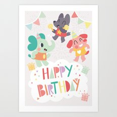 Happy Birthday Party Animals Art Print