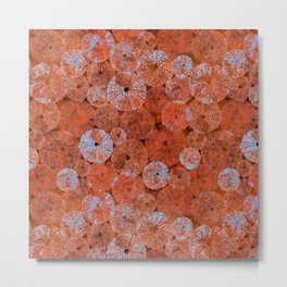 Ocean life in orange and blue Metal Print