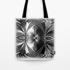 Abstract.White+Black Peacock. Tote Bag