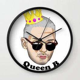 Queen B - Black Text Wall Clock