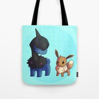 eevee Tote Bags featuring Deino and Eevee by Lollitree
