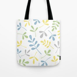 Assorted Leaf Silhouettes Blue Green Grey Yellow White Tote Bag