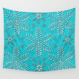 DP044-11 Silver snowflakes on turquoise Wall Tapestry
