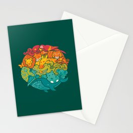 Animal Rainbow : Green Stationery Cards