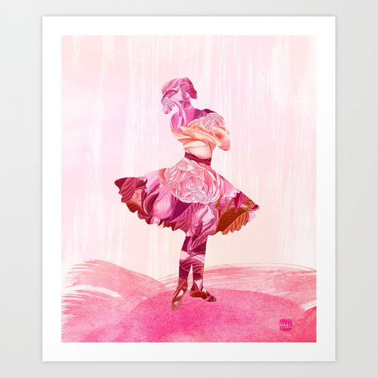 Rose Ballerina Art Print