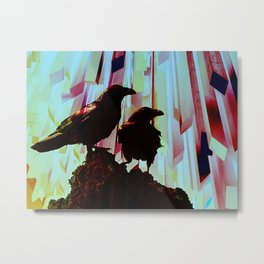 geometric ice crow Metal Print