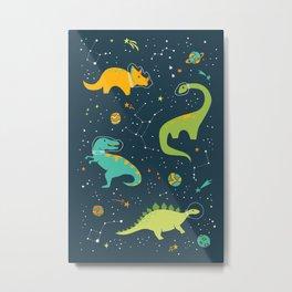 Dinosaur Space Adventure Metal Print