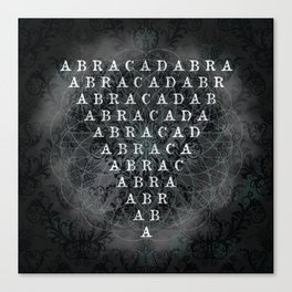 Abracadabra Reversed Pyramid in Charcoal Black Canvas Print
