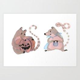Coatis love Halloween Art Print