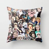 niall horan Throw Pillows featuring Niall Horan - Collage by Pepe the frog