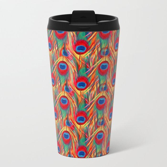 Beautiful Summery Peacock Feathers Pattern Metal Travel Mug