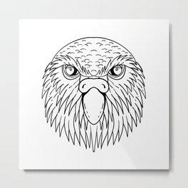 Kakapo Owl Parrot Head Drawing Black and White Metal Print
