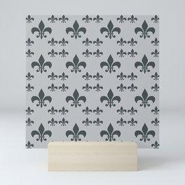 FLEUR DE LIS GRAY BLACK Mini Art Print