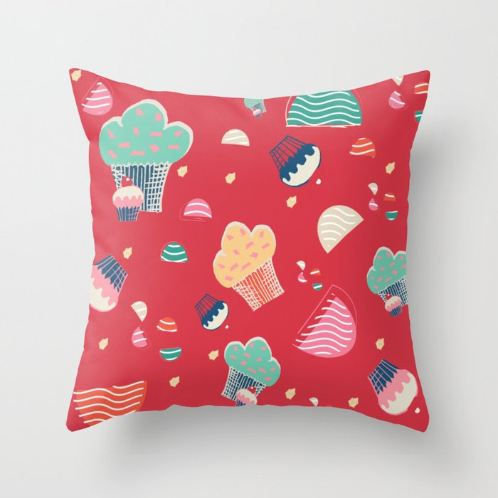 Cupcake red Throw Pillow