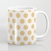 gold dots Mugs featuring Glittering Gold Dots by Allyson Johnson