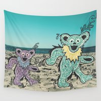 grateful dead Wall Tapestries featuring Grateful Dead Beach Cruise by Charlotte hills