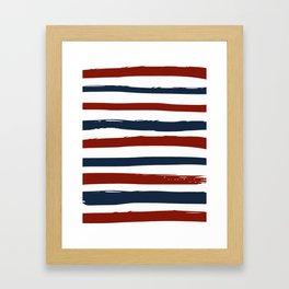 Red blue stripes Framed Art Print
